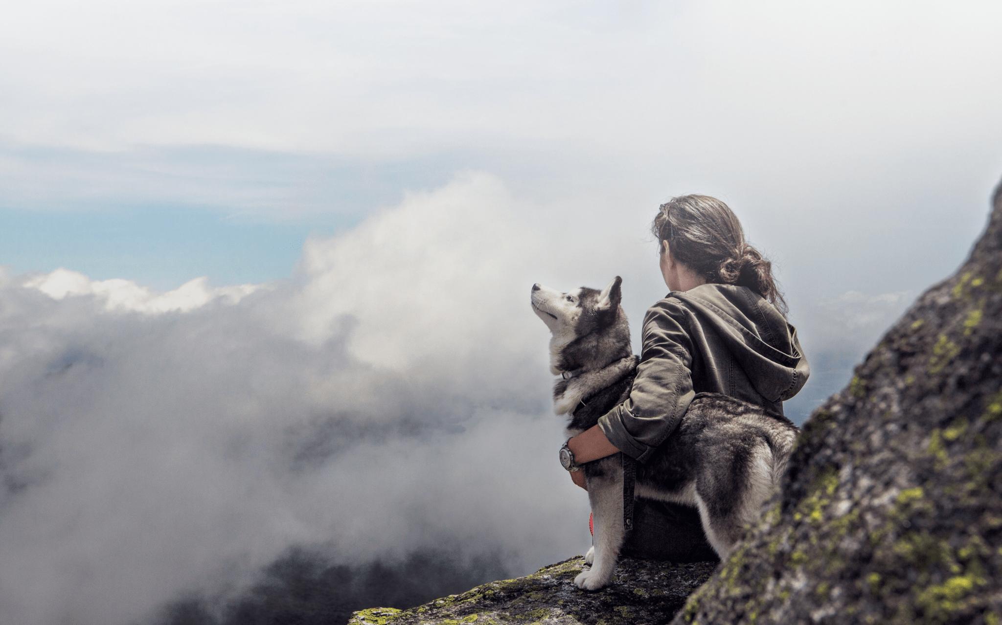 Man hugging dog on mountain side